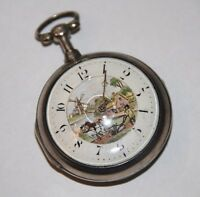 E. MOWE VERGE POCKET WATCH. SILVER AND PORCELAIN. UK. END 18th CENTURY