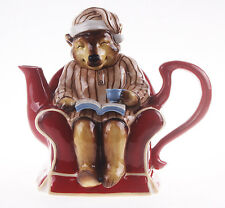 "16095 9.5"" Honey Bear Pajamas on Chair Teapot Night Before Christmas Decoration"