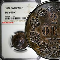 SWEDEN Bronze Carl XV Adolf 1872 2 ORE NGC MS64 BN Nice Toned KM#706