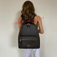 NWT COACH CHARLIE BROWN SIGNATURE BLACK LEATHER LARGE BACKPACK BAG F58314