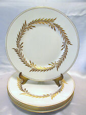 MINTON MALTA GOLD 5 DINNER PLATES #H4901 GOLD TRIM & LAUREL DESIGN ENGLAND