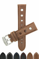 Bandini Mens Vintage Leather Watch Band, Rally Strap, 3 Holes, 20mm 22mm 24mm