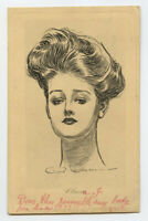 c. 1907 Illustrator GIBSON GIRL vintage postcard