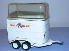 Tonka Stables vintage car horse trailer clear top white stickers crack in top