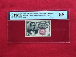 """FR-1266 Fifth Issue Fractional Currency 10c Cents """"SHORT THICK KEY"""" *PMG 58 AU*"""