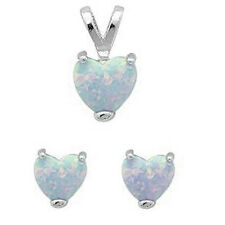 WHITE AUSTRALIAN OPAL Heart .925 Sterling Silver Earrings & Pendant Set