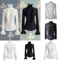Elegant Women Lace-up Solid Long Sleeve Ruffled Collar Tie Shirt Top Blouse