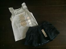 NWT Sonoma Scooter Blue Ruffle Skirt & Jumping Beans Foil Graphic T-shirt sz 3T