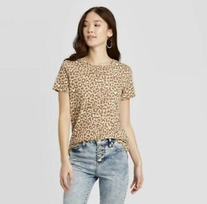 Zoe+Liv Women's Animal Print Camel Short Sleeve Graphic T-Shirt Tan Size XS