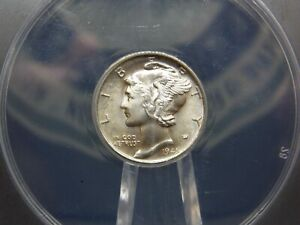 """1945 """"D"""" Mercury Silver Dime 10c ANACS MS66 East Coast Coin & Collectables"""