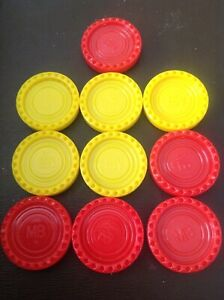 Connect 4 - 1975 Edition - 10 Spare Counters  - Original - 5 Yellow / 5 Red