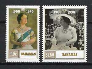 Bahamas 1990 Sc#698-99  Queen Mother-90th Birthday  MNH Set $5.25