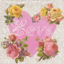 2 Serviettes en papier Amour Coeur Fleurs Paper Napkins Flower Heart Love
