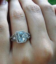 LeVian Aquamarine Chocolate & Vanilla Diamond Ring 14k White Gold WG