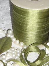 5 YARDS BUCILLA 7mm FERN GREEN 100% Silk Ribbon Vintage Bisque Doll Dress Trim