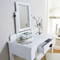 Dressing table set stool white adjustable mirror bedroom furniture vanity makeup