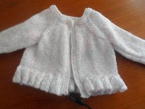 """Hand knitted round neck frill cardigan white with fleck  10.25""""-18"""""""