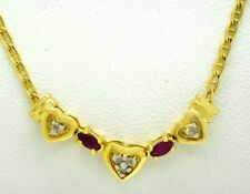 GENUINE 0.34 Carats RUBY & DIAMONDS HEART NECKLACE 10k Gold ** MADE IN USA * NWT