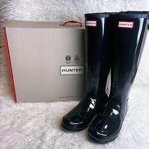 NIB From NordstromHunter Original Womens Short Rain Boots Size 8 -Black Gloss-