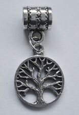 PEWTER CHARM suit European Bracelet #245 TREE of LIFE (14mm wide) slver tone