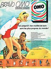 PUBLICITE ADVERTISING 044  1961  OMO   lessive pour peignoir maillot de bain