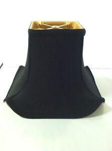 "Black 10"" Pagoda Lampshade Shantung Silk Lamp Shade Black Fabric Rectangular NEW"