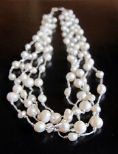 """White freshwater PEARL necklace, 4 strings, 20"""", new"""