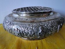 Posy Holder, Sterling Silver, East India, C 1930, Military, Chased Engraved