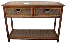 Jersey Cane/Wicker/Rattan/Wood 2 Drawer Console Table