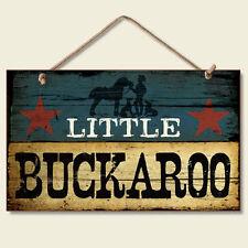 Western Lodge Cabin Decor ~Little Buckaroo~  Wood Sign W/ Braided Rope Cord
