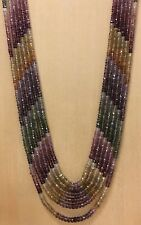 """NEW Multi-Color Sapphire Faceted Roundal 6 Strand Bead Necklace 11.5 - 19.5"""""""