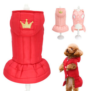 Dog Princess Dress Pink Winter Warm Skirts Coat Down Jacket Clothes for Yorkie