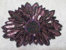 """6 3/8"""" Wide Purple Beads and Sequins Applique"""