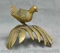 """9,2 """"Vieux Chinois Feng Shui En Cuivre En Bambou Statue Oiseau Brûleurs D'encens"""