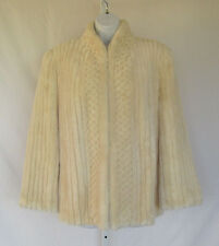 VINTAGE 1960s NEW  YORKER CANADIAN SHEARED BEAVER FUR COAT CHANNELED CREAM WHITE