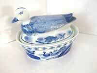 Vintage ASIAN Blue & White Porcelain Duck Serving Bowl Dish with Lid