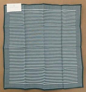 Brunello Cucinelli Pocket Square Green White Houndstooth Stripe 100 Cotton Italy