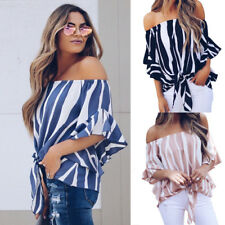 Women Off Shoulder Lace Up Sexy Shirts Casual Beach Blouse Tops Striped T-shirt