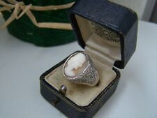 VINTAGE ORNATE SOLID STERLING SILVER CARVED CAMEO SIGNET RING SIZE U 10 UNUSUAL