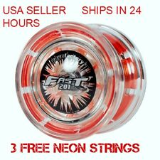 F.A.S.T. 201 Fast YoYo Clear Red YoYo Factory Plus 3 Neon Strings YELL/ORG/GREEN