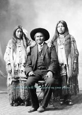 1907 GERONIMO PHOTO with Nieces, Apache Native American Indian Chief Portrait