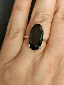 Art deco style Natural huge 10ct black spinel ring solid 925 silver