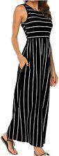 Women's Summer Sleeveless Striped Flowy Casual Long Maxi, Black, Size X-Large 0w