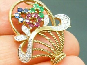 9ct Gold Tuuti Frutti Design Emerald, Ruby Sapphire Diamond Basket Heavy Brooch