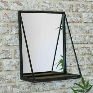 Mirror With Shelf Industrial Wall Mounted Black Metal Frame Bathroom Display