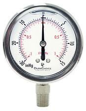 "2-1/2"" Oil Filled Vacuum Pressure Gauge SS/Br 1/4"" NPT Lower Mount -30HG/15PSI"