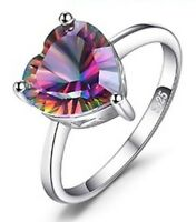 Heart Genuine Rainbow Ring Fire Mystic Topaz Pure 925 Sterling Silver Jewelry