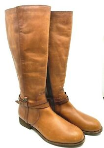FRYE Brown Leather Boots Knee High Inside Zipper Low Heel Ankle Strap Size 7