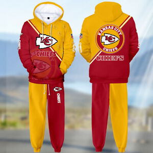 2PC Kansas City Chiefs Tracksuit Mens Set Sweatpants Hoodie Sweatsuit Sportswear