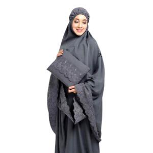 Muslim Women Long Scarf Islamic Prayer Hijab Sahbani Overhead Salah Khimar Set